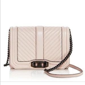Chevron Quilted Small Love Crossbody- soft blush